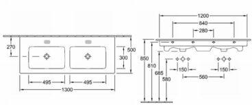 Villeroy & Boch Venticello dubbele meubelwastafel 130x50 cm 2xkr.gat zonder overl, wit