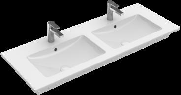 Villeroy & Boch Venticello dubbele meubelwastafel rechthoek 130x50 cm met 2 kraangaten en overloop, ceramicplus, wit alpin