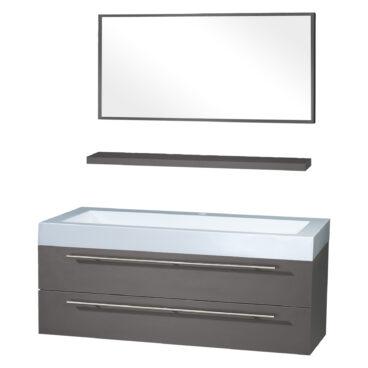 Differnz Force badkamermeubel 125cm 1 kraangat antraciet met spiegel en planchet