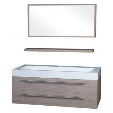 Differnz Force badkamermeubel 125cm 1 kraangat eiken met spiegel en planchet