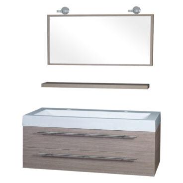 Differnz Force badkamermeubel 125cm 2 kraangaten eiken met spiegel, planchet en verlichting