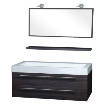 Differnz Force badkamermeubel 125cm 2 kraangaten grijs eiken met spiegel, planchet en verlichting