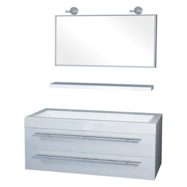 Differnz Force badkamermeubel 125cm 2 kraangaten wit met spiegel, planchet en verlichting