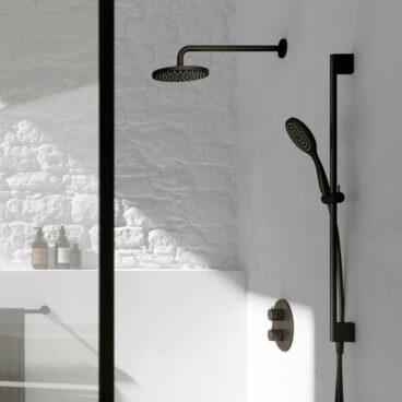 Hotbath Get Together doucheset met thermostatische 2-weg-omstel met 3 standen-handdouche, 15 cm plafondbuis, 30 cm hoofddouche, geborsteld nikkel