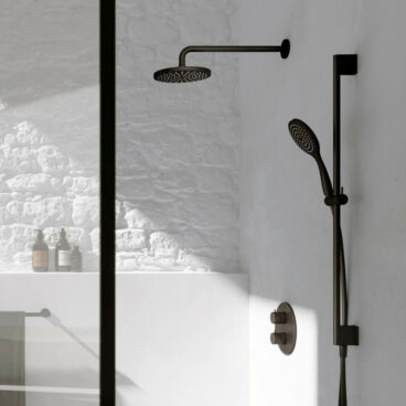 Hotbath Get Together doucheset met thermostatische 2-weg-omstel met 3 standen-handdouche, 30 cm plafondbuis, 20 cm hoofddouche, geborsteld nikkel