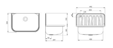 Plieger uitstortgootsteen plaatstaal 33 x 50,3 cm, met stootrand, zonder accessoires, wit