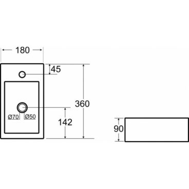 Sub Mini-Rhea One Pack fontein links met Casma fonteinkraan, wit/zwart