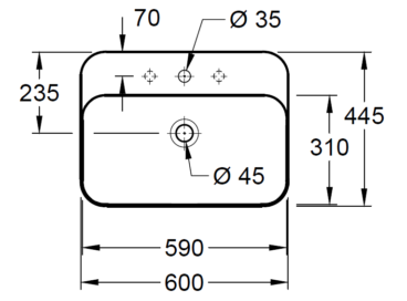 Villeroy & Boch Finion opzet wastafel 60x44,5 met kraangat CeramicPlus, alpin wit