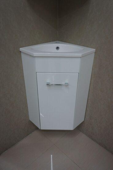 Wiesbaden Lena One Pack hoekfonteinkast met wastafel en spiegelkast 50x85x25 cm, wit