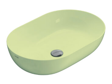 Globo T-Edge opzetwastafel ovaal 60x41x16 cm zonder overloop, lime