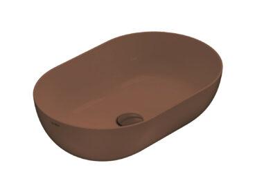 Globo T-Edge opzetwastafel ovaal 60x41x16 cm zonder overloop, mattone