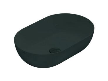 Globo T-Edge opzetwastafel ovaal 60x41x16 cm zonder overloop, smoke