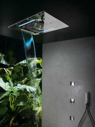 Hotbath Mate M190 inbouw hoofddouche met LED, waterval en twist 48x63cm chroom