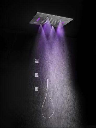 Hotbath Mate M192 inbouw hoofddouche met LED, spray en Bluetooth 48x63cm geborsteld nikkel