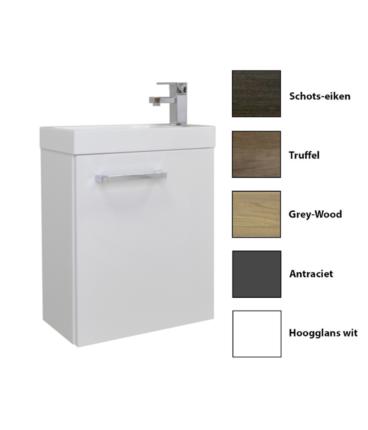 Sanicare Q40 toiletmeubel met spiegel 40 cm grey-wood