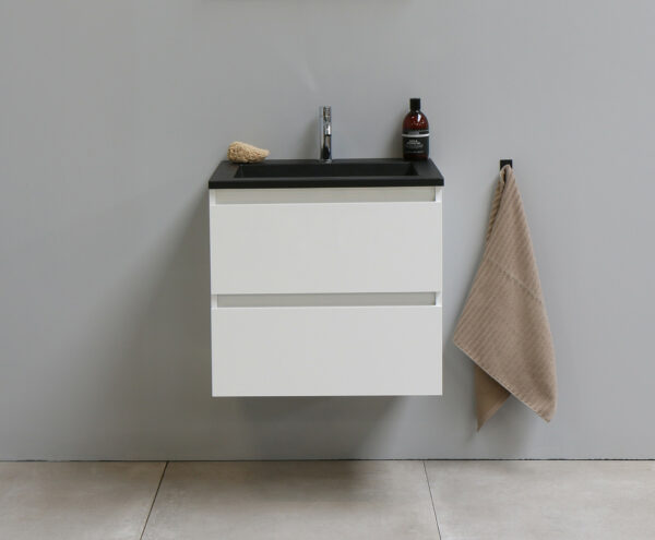 Stef Badmeubelset met Wastafel 60 cm Hoogglans wit/Mat Zwart Acryl