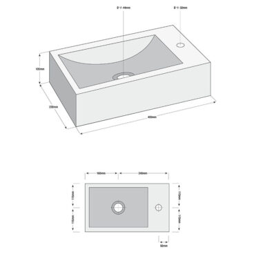 Sub Matera fonteinset rechts 40 x 23 cm