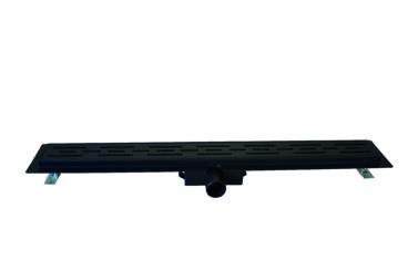 Wiesbaden Drain douchegoot met flens en sifon 80 cm, mat zwart