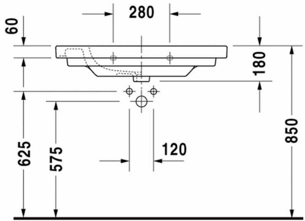 Duravit D-code meubelwastafel met kraangat en overloop 85 x 48 cm, wit