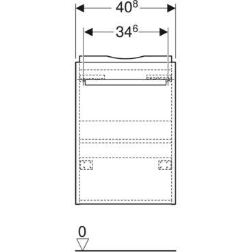 Geberit Renova Compact onderkast fontein 1 deur 40,8x23,1 cm, lichtgrijs