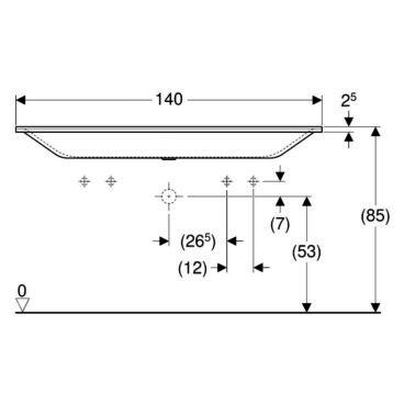 Geberit Xeno2 wastafel 140 cm 2 kraangaten zonder overloop, wit