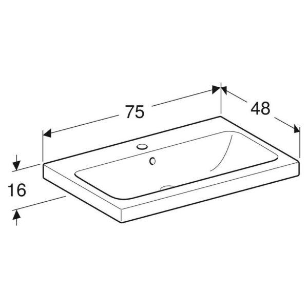 Geberit iCon Light opzetwastafel 75x48 cm, 1 kraangat, met overloop, met KeraTect, wit