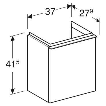 Geberit iCon fonteinonderkast 1 deur rechts 37x28 cm, wit/chroom
