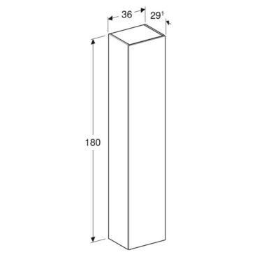 Geberit iCon kast hoog 1 deur 36x180 cm, glans wit