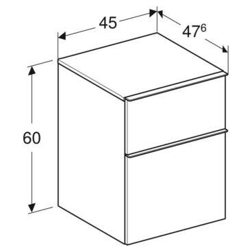 Geberit iCon kast laag 2 lade 45x60 cm, wit/chroom
