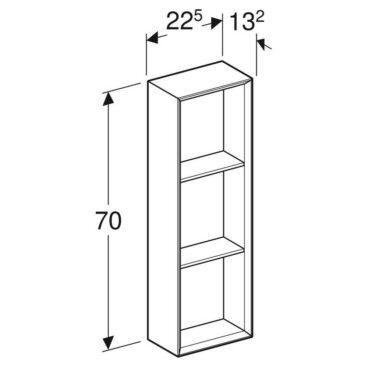 Geberit iCon kast open 22,5x70 cm, zandgrijs