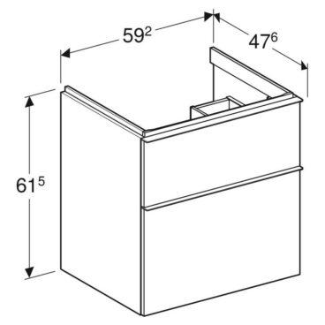 Geberit iCon wastafelonderkast 2 lade 59x47,6 cm, noten hickory