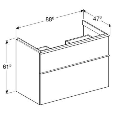 Geberit iCon wastafelonderkast 2 lade 89x47,6 cm, wit/chroom