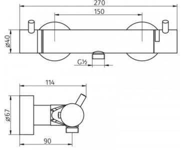 HSK Shower&Co douchethermostaat met in hoogte verstelbare glijstangset en ronde handdouche, chroom