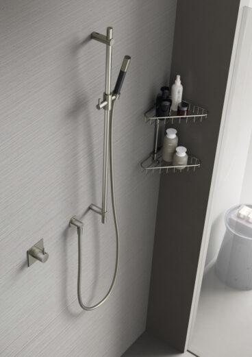 Hotbath Cobber glijstangset met wandaansluitbocht, doucheslang en staafhanddouche 90 cm, verouderd messing
