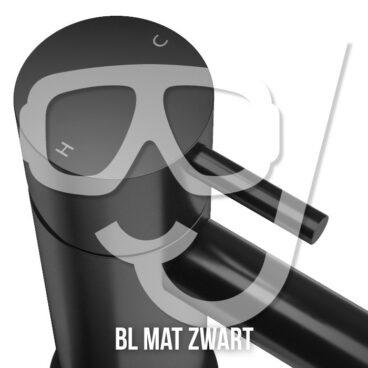 Hotbath Get Together doucheset met 2 pushbuttons verticaal met 15 cm plafondbuis, 20 cm hoofddouche, glijstang, mat zwart