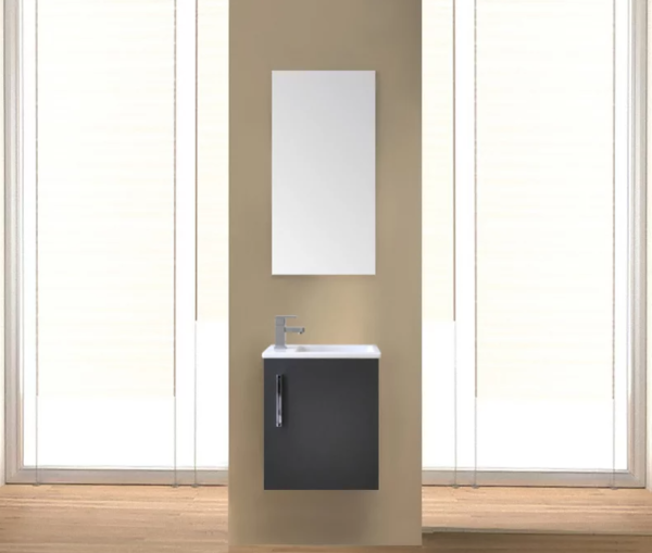 Sanicare Q40 toiletmeubel 40cm antraciet met spiegel en keramische fontein