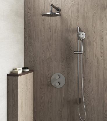 Hotbath Get Together thermostatische regendouche-inbouwset met 2-weg-omstel inclusief glijstang en handdouche met 3 straalsoorten, geborsteld nikkel