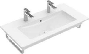 Villeroy & Boch Venticello meubelwastafel 100x50 cm met 2 kraangaten met overloop CeramicPlus, wit