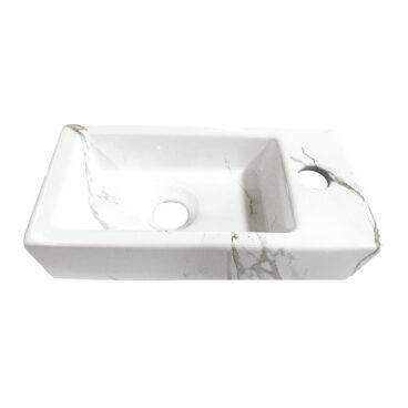 Wiesbaden One Pack Mini-Rhea fontein 36x18 cm rechts en Amador toiletkraan, Carrara