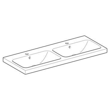 Geberit iCon Light dubbele wastafel 120x48 cm, met kraangat en overloop, wit