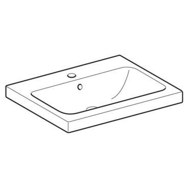 Geberit iCon wastafel 60x48 cm, met kraangat en overloop, wit