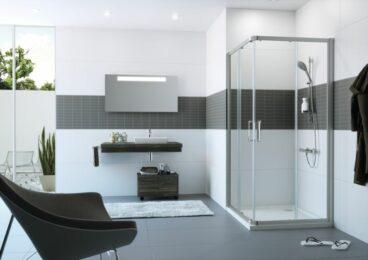 Hüppe Classics 2 EasyEntry 2-dlg. hoekinstap 90/90x200 cm, matzilver-helder glas