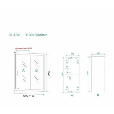 Schuifdeur Wiesbaden Skyline Douchedeur 110x200 cm 8 mm NANO Coating Mat Zwart