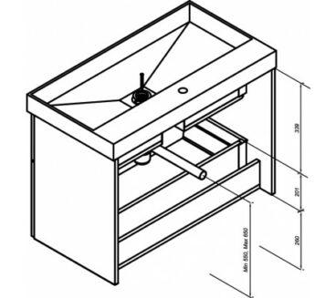 Sub 480 wastafelonderkast 60x54x41,8 cm, grijs hout