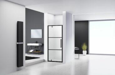 Van Rijn nisdeur 200 cm x 78-80 cm, 6 mm helder glas incl. glasbehandeling, zwart profiel met 2 lijnen zeefdruk, links- of rechtsdraaiend te monteren