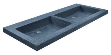 Wiesbaden B-stone hardstenen dubbele meubelwastafel met 2 kraangaten 120x46x5 cm, zwart
