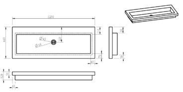 Wiesbaden B-stone wastafel enkel zonder kraangaten 120x46x5 cm, hardsteen
