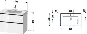 Duravit D-Neo badmeubelset met wastafel 100x48x20 cm, eiken zwart