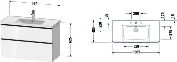 Duravit D-Neo badmeubelset met wastafel 100x48x20 cm, wit -