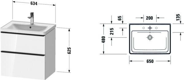 Duravit D-Neo badmeubelset met wastafel 80x48x20 cm, eiken zwart